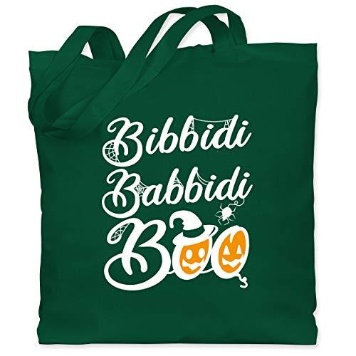 Shirtracer Halloween Kind - Bibbidi Babbidi Boo - weiß - Unisize - Dunkelgrün - Fun - WM101 - Stoffbeutel aus Baumwolle Jutebeutel lange Henkel