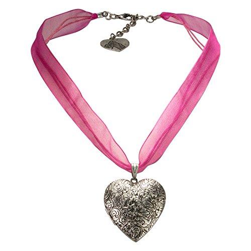 Alpenflüstern Organza-Trachtenkette Amulett-Herz Trachtenherz - Damen-Trachtenschmuck Dirndlkette pink-Fuchsia DHK080