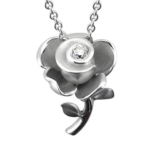Sterling Silver Rose Flower Diamond Pendant Necklace (GH, I1-I2, 0.12 carat): Diamond Delight