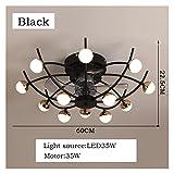 L1YAFYA Lámpara de Ventilador de Techo Creativo Sala de Estar de la habitación del Dormitorio con la lámpara de Ventilador de Control Remoto de Audio Bluetooth (Blade Color : Black, Voltage : 220V)