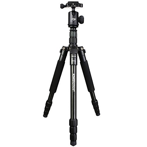 Kiwifos Professioneel camerastatief incl. kogelkop met panoramaplaat, snelwisselplaat, waterpas, draagtas, belastbaarheid 15 kg, werkhoogte van 36 tot 150 cm en 4 segmenten
