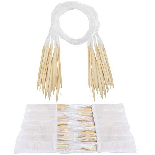 Curtzy Agujas Circulares de Bambú Set con Bolsa de Almacenaje (16 Pares) 16 Tamaños de 2 mm a 12 mm - Agujas de Tejer con Tubos de Plástico para Proyectos de Tejer Ganchillo