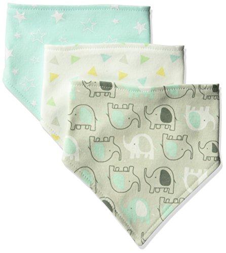 Luvable Friends Unisex Baby Cotton Bandana Bibs, Basic Elephant, One Size