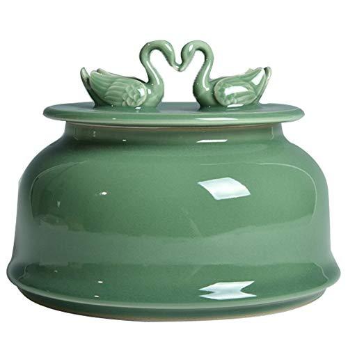 Xiang Ye Celadon Glas handgefertigt Schwan Queen Size Keramik Teedose Wake Up Boxen Teekanne Ornamente Streudosen (Farbe: Grün)