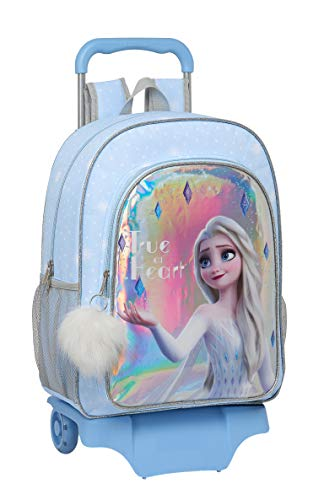 Safta Mochila Escolar Grande con Carro de Frozen II True at Heart, 330x150x420mm, Azul Claro