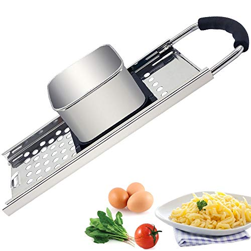 CHEFLY Stainless Steel Spaetzle Maker with Comfort Rubber Grip Handle for Germany Dumpling Noodle P2002