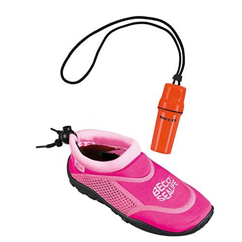 Beco Sealife Surf- und Badeschuhe für Kinder + Beachbox Aqua Fun 28/29 pink