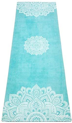 PPOSH Yoga Design Lab Combo Yoga Mat  Ampliado, Estera/Toalla, Buen Agarre Cuando sudoroso, Caucho Natural  con Correa de Hombro (Azul, 5,5 mm). Estera de Yoga
