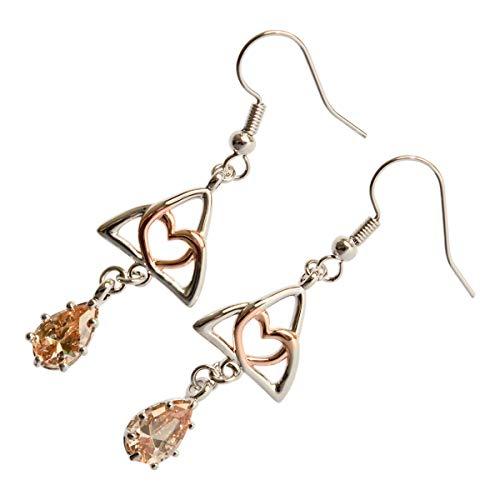 UPCO Jewellery Pendientes de Triquetra Chapada En Oro Blanco De 18K y Corazon Chapado en Oro Rosa y Cristal Colgante de Color Champan