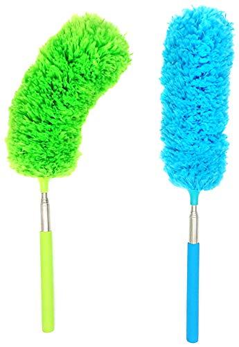 Daisybee ほこり取り マイクロファイバー ハンディモップ 長さ 角度調整 水洗い可能 棒タイプ グリーン&ブルー