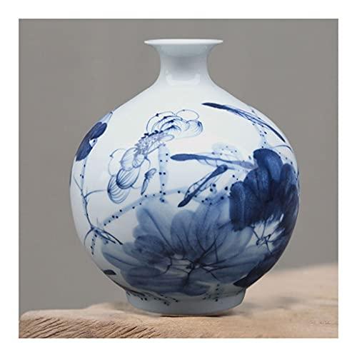 Florero Jingdezhen Vases de porcelana azul y blanca pintados a mano, jarrones auténticos de regalo de alta gama pintados a mano para decoración del hogar o regalos para la altura de edad avanzada 7 pu