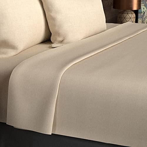 Soleil d'Ocre 213828 Drap Plat 57 Fils Coton Uni Taupe/Ecru 180 x 290 cm