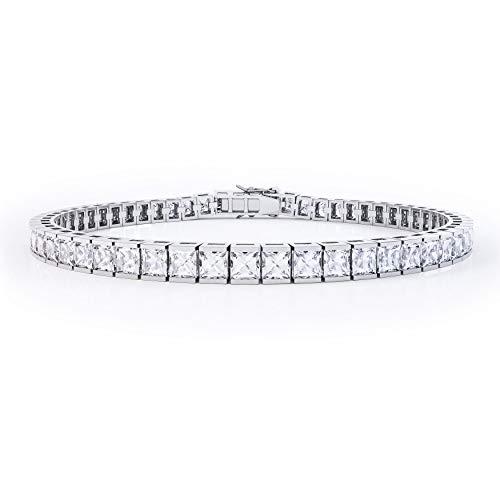 Jian London, braccialetto tennis in argento con zaffiri bianchi con taglio princess, (18 cm, oro bianco)
