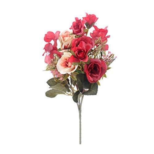 Nep rozen kunstbloemen hoge kwaliteit boeket hortensia gypsophila blad accessoires voor kerst thuis bruiloft decoratie, rood