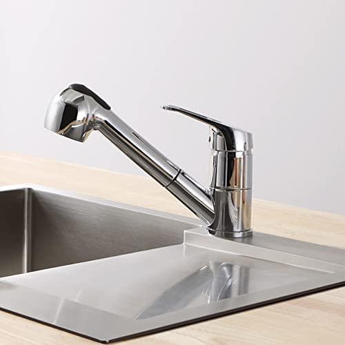 CECIPA Grifo X208E I Grifo monomando de alta presión para cocina con ducha, 2 tipos de chorro, grifo monomando giratorio 360°, cromado