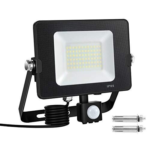 Kanavi 50W LED Strahler mit Bewegungsmelder LED Fluter 5000lm Superhell 5500K Tageslichtweiß, 230V IP65 Wasserdicht Außenstrahler für Garten Garage, Sportplat, Keller