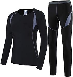 HAINES Ropa Interior Térmica Esqui Mujer Ropa Térmica Interior para Running Montaña Ciclismo Fitness Negro Gr.36