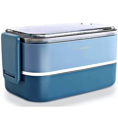 Caja de pan, Lunchbox, 2-caply Bento Alimento Contenedor Caja de pan para niños Trabajos de adultos para niños Viajes escolares, congelador de microondas Lavavajillas Caja fuerte ( Color : Blue )