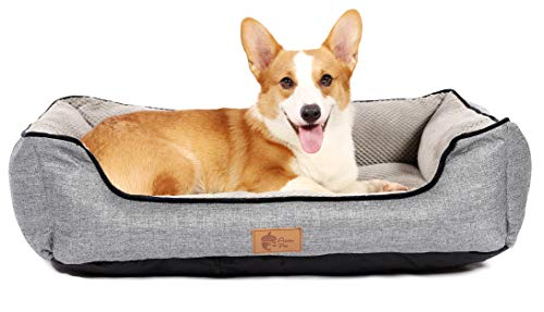 AcornPets B-1501 Deluxe Grey Color Medium Dog Bed Cat Pet Pillow Fleece 80 x 60 CM For Medium Dogs, Using Premium Polyester Fiber and High Count Cotton Fabric, Detachable and Washable