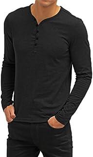 Aiyino Mens Casual V-Neck Button Cuffs Cardigan Long Sleeve T-Shirts
