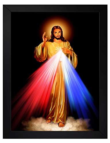 quadro católico jesus misericordioso benção tamanho 35x25cm com moldura e vidro
