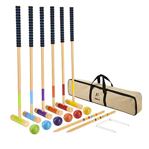 M MINGLE 35 inch Deluxe Croquet Set for Adults, Kids and Families with Carrying Case