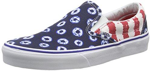 Vans Classic Slip-on Scarpe da Ginnastica Basse, Unisex Adulto, Multicolore (dyed Dots & Stripes/blue/red), 34.5 EU
