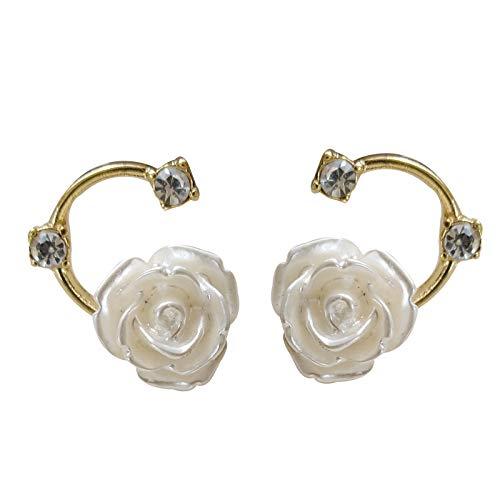 S925 Pendientes De Botón De Rosa Blanca Con Temperamento De Aguja De Plata Pendientes Pequeños Simples Y Frescos Pendientes En Forma De C De Diamantes