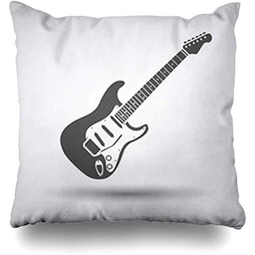 FLDONG Kissenbezug im Stil der 80er Jahre E-Gitarre auf grauem runden Jazz Schatten Piktogramm abstrakte akustische Bässe schwarze Melodie 45,7 x 45,7 cm Kissenbezüge