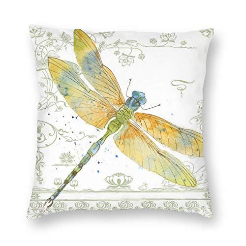 RTBB Federa quadrata per cuscino decorativo con libellula e fiori, per divano, camera da letto, auto, matrimonio, cerniera invisibile, bianco, 56 cm x 56 cm