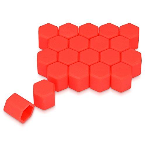 kwmobile 20x Abdeckung für 17 mm Radmuttern Auto Rad Schraube - Radschrauben Cover - Mutter Kappen in Rot