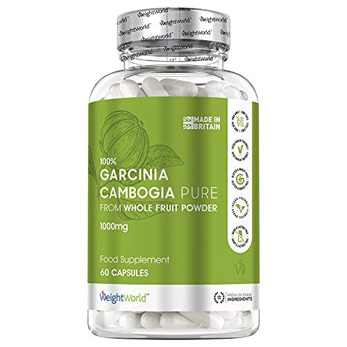Garcinia Cambogia Pura 60 Cápsulas 1000 mg Vegano - Garcinia Cambogia Natural del Fruto Entero con HCA Natural (Ácido Hidroxicítrico), Suplemento Dietético Sin Gluten ni Lactosa Dieta Keto