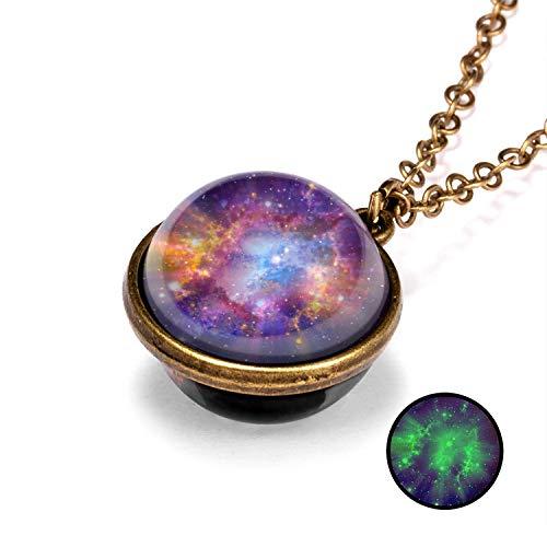 JUJUN Galaxy Collares para Mujer, Galaxy Colgante Collar Espacio Collar Cristal Universo Collar para Accesorios De Disfraces De Navidad Favores De Fiesta De Cumpleaños Rellenos De Bolsas
