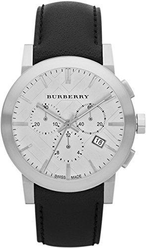 Authentische Schweizer Burberry-Chronograph-Armbanduhr für Herren, Unisex, The City, schwarzes Leder, silberfarbenes Zifferblatt mit Datumsanzeige BU9355