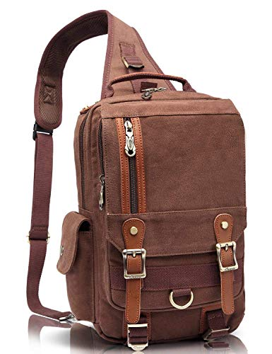 KAUKKO Canvas Messenger Bag Cross Body Shoulder Sling Backpack Travel Hiking Chest Bag Coffee
