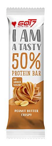 GOT7 50% Protein Bar 60g - Protein Riegel ohne Zuckerzusatz - Low Sugar Eiweißriegel - Fitness Riegel (Peanut Butter Crispy, 20 x 60g)
