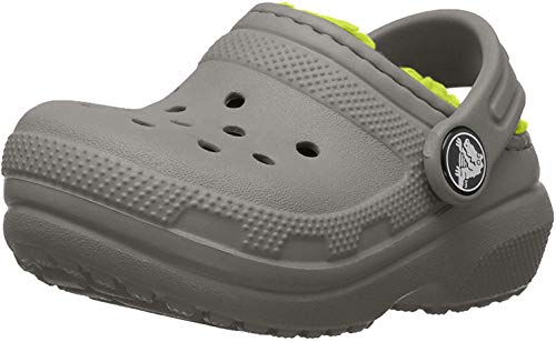 Crocs Classic Lined Clog Kids, Unisex - Kinder Clogs, Grau (Slate Grey/volt Green), 32/33 EU