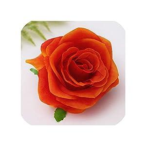 100 Pcs Artificial Silk Rose Flower Artificial Flower Family Wedding Simulation Tea Rose DIY Wedding Flower Wreath Flower Wall,Orange