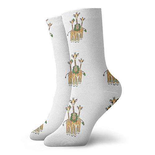 QUEMIN Cute Holiday Giraffes - Illustrazione con calze a ghirlanda di agrifoglio rosso-verde Calze sportive classiche da 30 cm / 11,8 pollici adatte per uomo donna