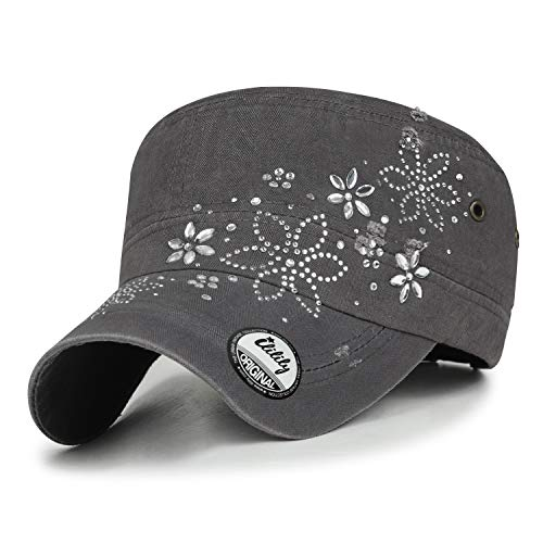ililily Crystal Gemstone Stud Flower Vintage Cotton Military Army Hat Cadet Cap, Charcoal Grey