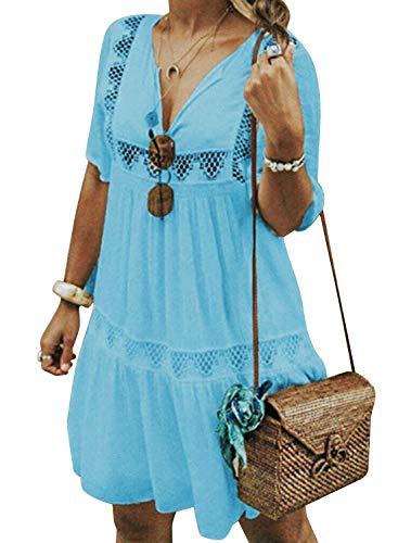 Cindeyar Damen Sommerkleider V-Ausschnitt Strandkleider Einfarbig Kurzarm Casual A-Linie Kleid Boho Kleid (S, Blau)