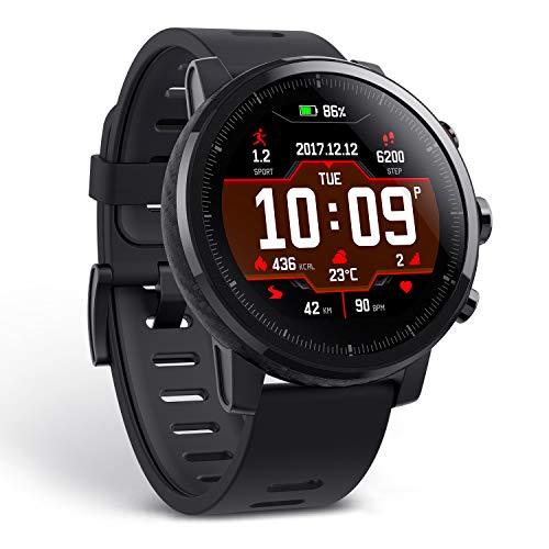 Amazfit Stratos - Smartwatch per la salute e il fitness, con cardiofrequenzimetro, rilevamento attività, rilevamento VO2max, GPS, impermeabile, 5 ATM, colore: nero