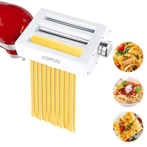 Accesorio para pasta para KitchenAid batidora de pie, máquina de pasta 3 en 1 Accesorios, rodillo para hojas de pasta Cortador de espaguetis Cortador de fettuccine, accesorio COFUN para KitchenAid