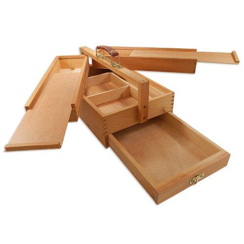 Artina - Boite de Rangement en Bois pour matériel de Peinture - Vannes - 4 Compartiments - Tres Pratique -39x23x17,5cm