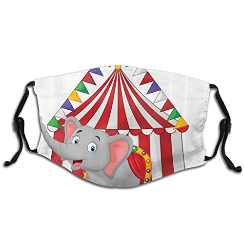 Unisex reusable face cover Illustration Of Happy Elephant In Colorful Circus Tent Carnival Entertainment Theme AdjustableWashablemouthcover