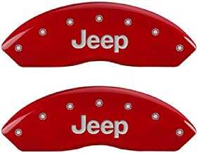 MGP Caliper Cover 42007SJEPR Red Caliper Covers - Engraved Front & Rear, 4 Pack