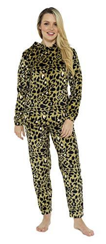 CityComfort Pijama Mujer Invierno, Pijama Mujer De Polar Súper Suave con Capucha, Conjunto de Pijama de Manga Larga Estampado con Animal, Regalos Originales para Mujer (S, Animal Caqui)