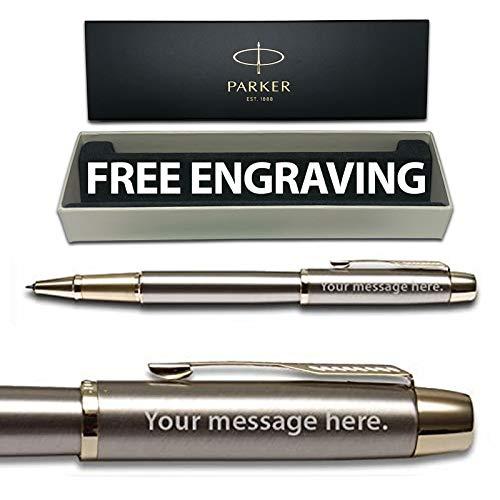 Parker IM-Penna a sfera roller in oro spazzolato con scatola Personalised-confezione regalo, incisione gratuita