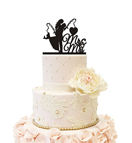 Wedding Cake Topper Engagement Bridal Shower Couple Bride Groom Fishing Fish (Fishing (Black))
