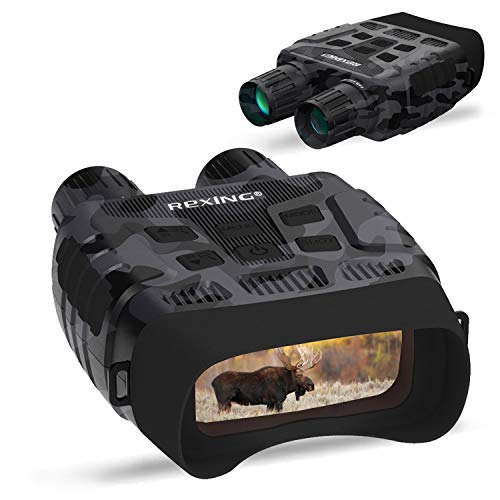 Rexing B1 Night Vision Goggles Binoculars with LCD Screen, Infrared (IR) Digital Camera, Dual Photo + Video Recording for Spotting, Hunting, Tracking up to 300 Meters (Camo)